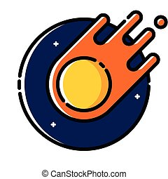 Comet floating in space, colored outline icon.