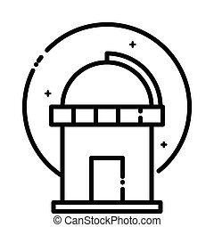 Astronomical Observatory under the stars, vector outline...