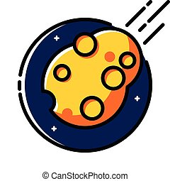 Asteroid in Space, colored outline icon.