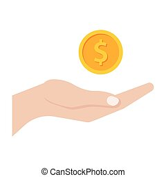 Business Profit concept - Profit concept with hand and gold...