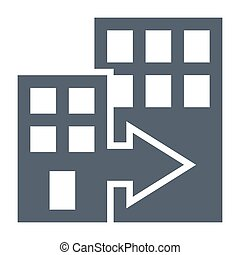 Mergers and acquisitions concept with office buildings