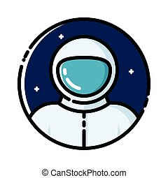 Astronaut in space, vector illustration, outline icon