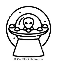 Unidentified flying object, vector outline icon.
