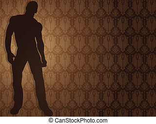 Sexy boy against damask background. Editable Vector...