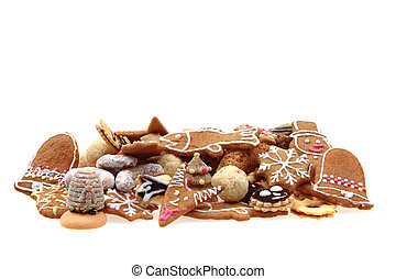 mixed christmas cookies isolated