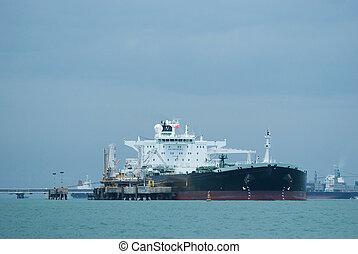 Oil-tanker at an offshore terminal - Oil-tanker unloading...