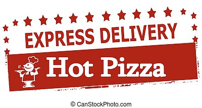 Experss delivery hot pizza - Rubber stamp with text experss...