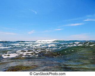 Caspian Sea. - Shooting above the water level. Caspian Sea.