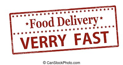 Food delivery verry fast - Rubber stamp with text food...