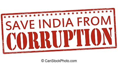 Save India from corruption - Rubber stamp with text save...