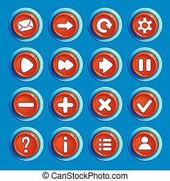 Cartoon red round buttons with web icons