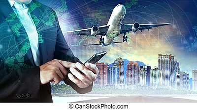 business man touching on smart phone and air plane flying...