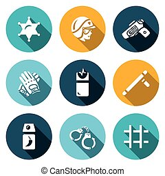 Vector Set of Police Icons - Badge, Man, Gun, Gloves Taser...