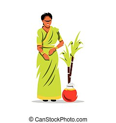 Vector Happy Pongal Cartoon Illustration. - Beautiful Indian...