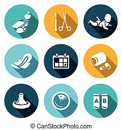 Vector Set of Abortion Icons. Equipment, Surgery, Birth,...