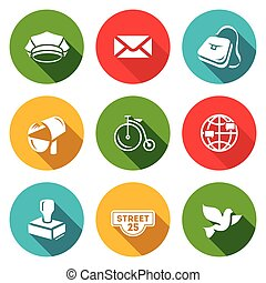Vector Set of Post Office Icons Postman, Letter, Delivery,...