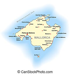 Mallorca map - Color Mallorca map over white