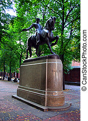 Paul Revere Statue, North End, Boston - Stock image of Paul...
