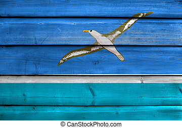 Flag of Midway Atoll (unofficial), painted on old wood plank...