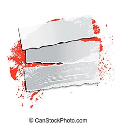 brushstroke - white blot and paper on a black background,...