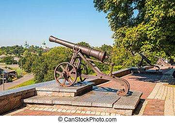 Old artillery cannon in Chernihiv