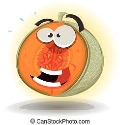 Cartoon Funny Melon Character - Illustration of a cartoon...