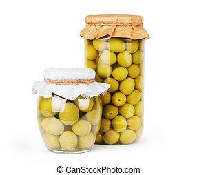 Green olives preserved in bank, bottle
