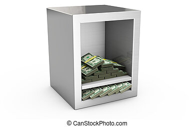 Steel safe box and money 3D. Protection of finance concept....