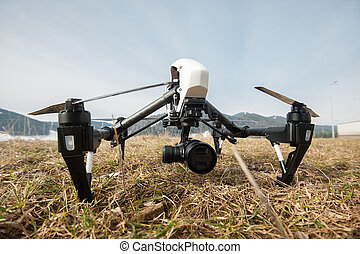 Professional drone on ground