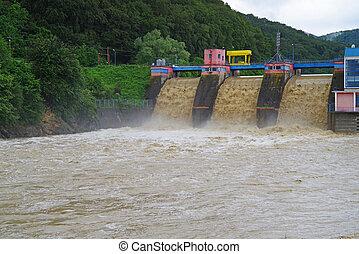Drenaje, dique, inundación