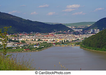 City on the valley - City on Bistrita valley river in...
