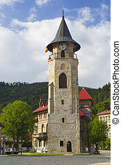 Historic monument, medieval stone tower in Piatra Neamt,...