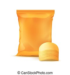 Sealed Foil Plastic Bag with Stack of Potato Chips - Vector...