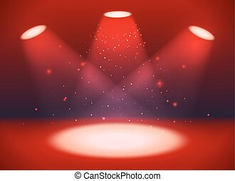 Empty scene with three spotlights on red background