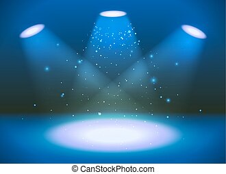 Empty scene with three spotlights on blue background -...