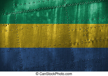 metal texutre or background with Gabon flag