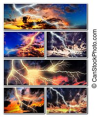 Night cityscape with strong lightning collage - Night...