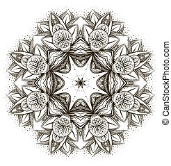 Vector ornamental Lotus, ethnic zentangled henna tattoo,...