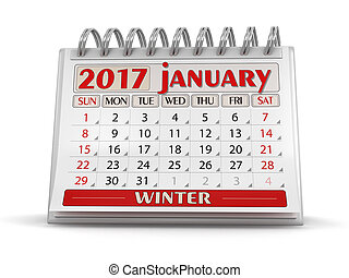 Calendar -  January 2017 (clipping path included)