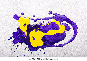 Abstract colorful paint - Spilled yellow and violet paints...