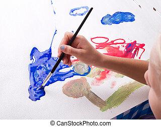 女孩, 畫, 水彩
