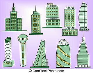 Tall buildings vector illustration - Famous capitals and...