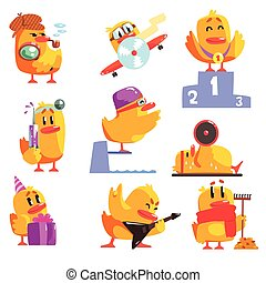 Duckling Different Activities Set Of Cool Character Stickers...