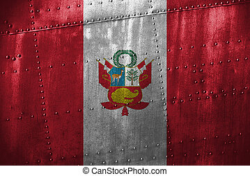 metal texutre or background with Peru flag