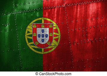 metal, texutre, ou, fundo, com, PORTUGAL, bandeira
