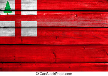 Flag of New England, USA, painted on old wood plank...