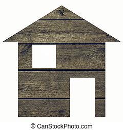 Wood house vintage - Wood house 2d model illustration...