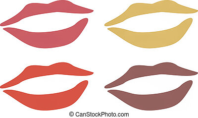 Lips vintage - Simple illustration of pink red gold and...