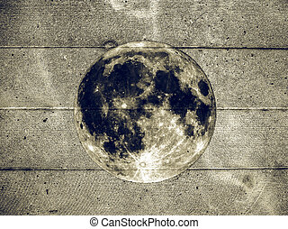 Grunge full moon on wall vintage - Grunge style collage of...