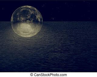 Full moon at sea vintage - Full moon at sea at night with...